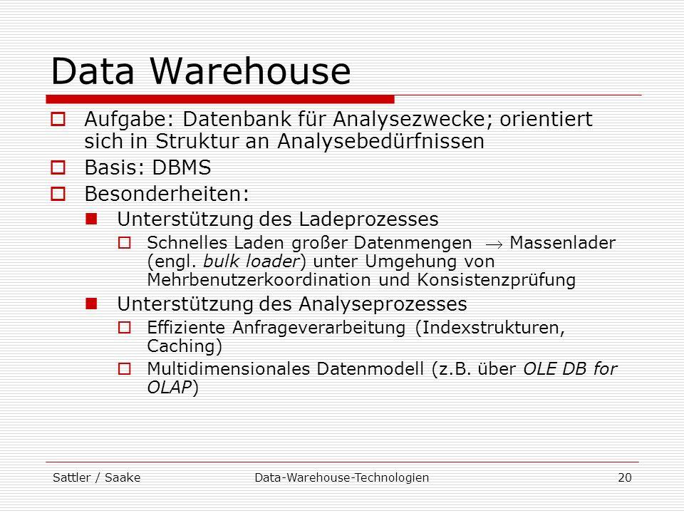 Sattler / SaakeData-Warehouse-Technologien20 Data Warehouse Aufgabe: Datenbank für Analysezwecke; orientiert sich in Struktur an Analysebedürfnissen B