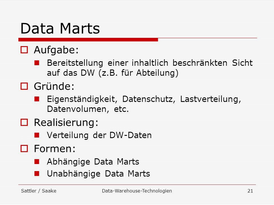 Sattler / SaakeData-Warehouse-Technologien21 Data Marts Aufgabe: Bereitstellung einer inhaltlich beschränkten Sicht auf das DW (z.B. für Abteilung) Gr