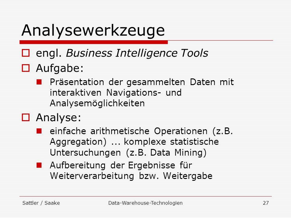 Sattler / SaakeData-Warehouse-Technologien27 Analysewerkzeuge engl. Business Intelligence Tools Aufgabe: Präsentation der gesammelten Daten mit intera