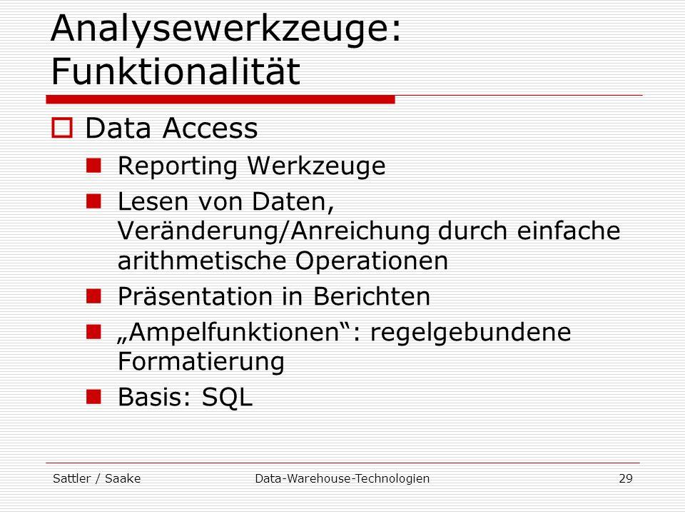 Sattler / SaakeData-Warehouse-Technologien29 Analysewerkzeuge: Funktionalität Data Access Reporting Werkzeuge Lesen von Daten, Veränderung/Anreichung