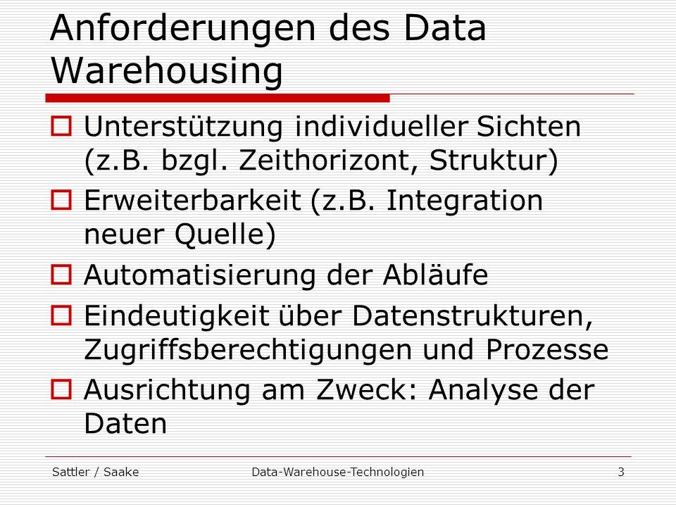 Sattler / SaakeData-Warehouse-Technologien34 Repository Aufgabe: Speicherung der Metadaten des DW-Systems Metadaten: Informationen, die Aufbau, Wartung und Administration des DW-Systems vereinfachen und Informationsgewinnung ermöglichen Beispiele: Datenbankschemata, Zugriffsrechte, Prozessinformationen (Verarbeitungsschritte und Parameter), etc.