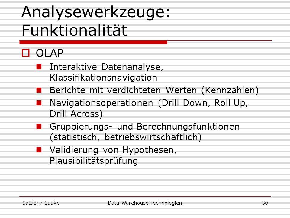 Sattler / SaakeData-Warehouse-Technologien30 Analysewerkzeuge: Funktionalität OLAP Interaktive Datenanalyse, Klassifikationsnavigation Berichte mit ve