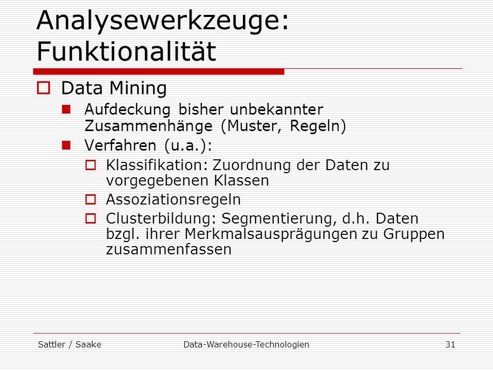 Sattler / SaakeData-Warehouse-Technologien31 Analysewerkzeuge: Funktionalität Data Mining Aufdeckung bisher unbekannter Zusammenhänge (Muster, Regeln)