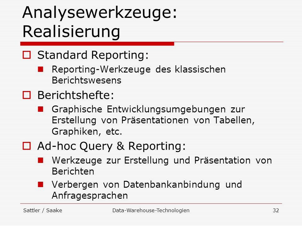 Sattler / SaakeData-Warehouse-Technologien32 Analysewerkzeuge: Realisierung Standard Reporting: Reporting-Werkzeuge des klassischen Berichtswesens Ber