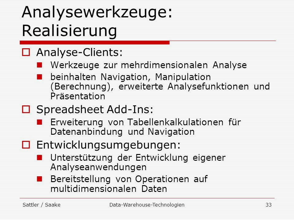 Sattler / SaakeData-Warehouse-Technologien33 Analysewerkzeuge: Realisierung Analyse-Clients: Werkzeuge zur mehrdimensionalen Analyse beinhalten Naviga