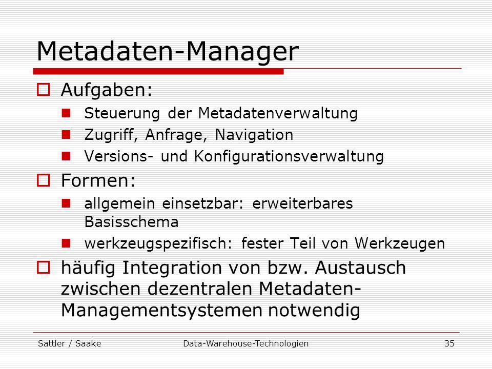 Sattler / SaakeData-Warehouse-Technologien35 Metadaten-Manager Aufgaben: Steuerung der Metadatenverwaltung Zugriff, Anfrage, Navigation Versions- und