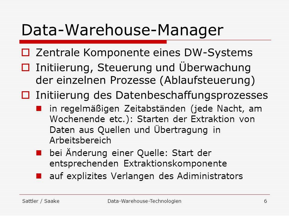 Sattler / SaakeData-Warehouse-Technologien7 Data-Warehouse-Manager Nach Auslösen des Ladeprozesses: Überwachung der weiteren Schritte (Bereinigung, Integration etc.) Koordination der Reihenfolge der Verarbeitung Fehlerfall Dokumentation von Fehlern Wiederanlaufmechanismen Zugriff auf Metadaten aus dem Repository Steuerung des Ablaufs Parameter der Komponenten