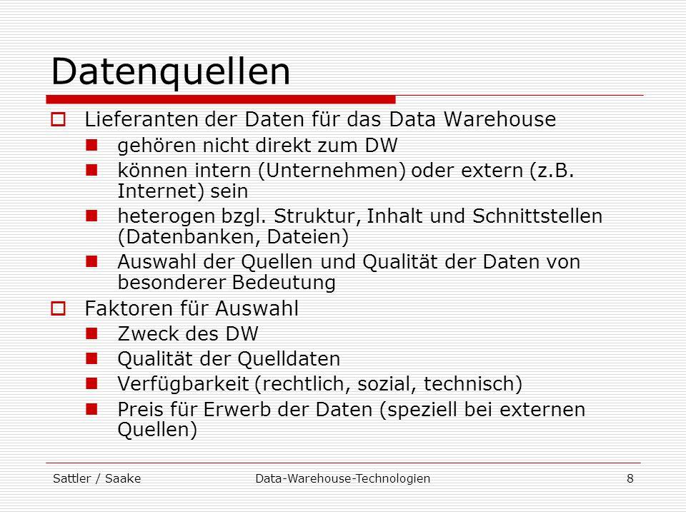 Sattler / SaakeData-Warehouse-Technologien8 Datenquellen Lieferanten der Daten für das Data Warehouse gehören nicht direkt zum DW können intern (Unter