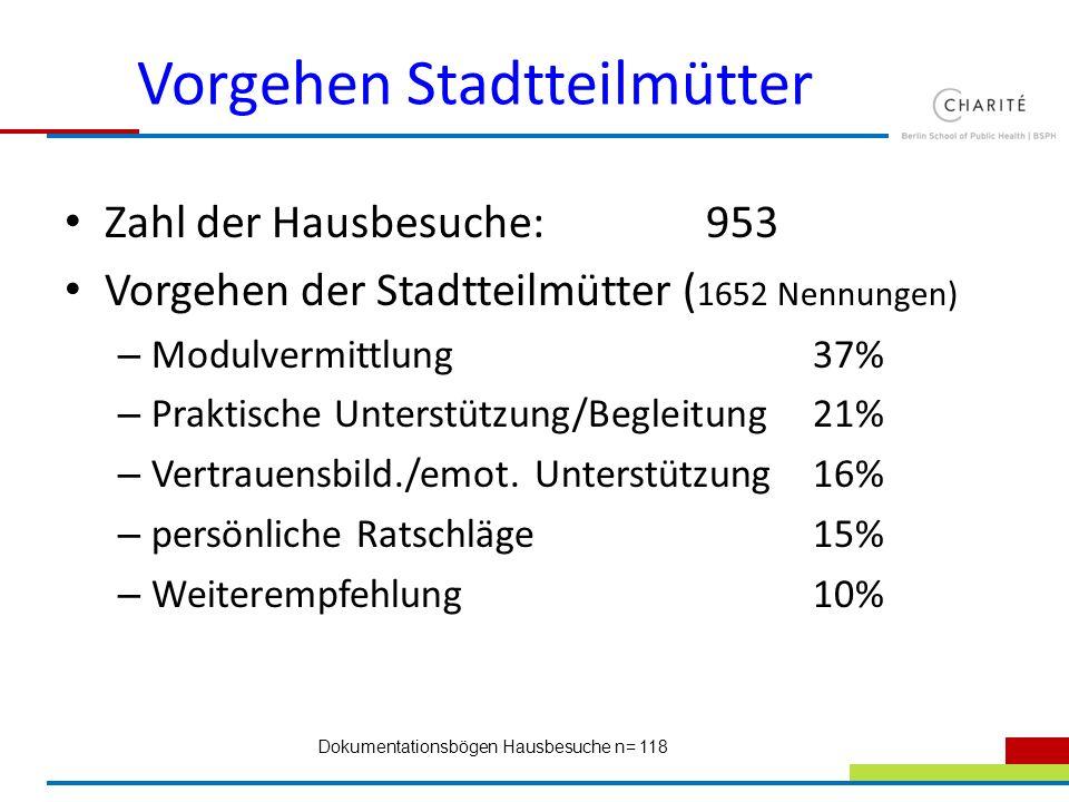 Vorgehen Stadtteilmütter Zahl der Hausbesuche: 953 Vorgehen der Stadtteilmütter ( 1652 Nennungen) – Modulvermittlung37% – Praktische Unterstützung/Beg