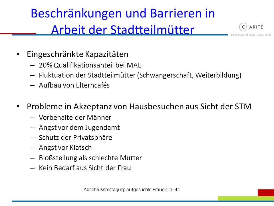 Beschränkungen und Barrieren in Arbeit der Stadtteilmütter Eingeschränkte Kapazitäten – 20% Qualifikationsanteil bei MAE – Fluktuation der Stadtteilmü