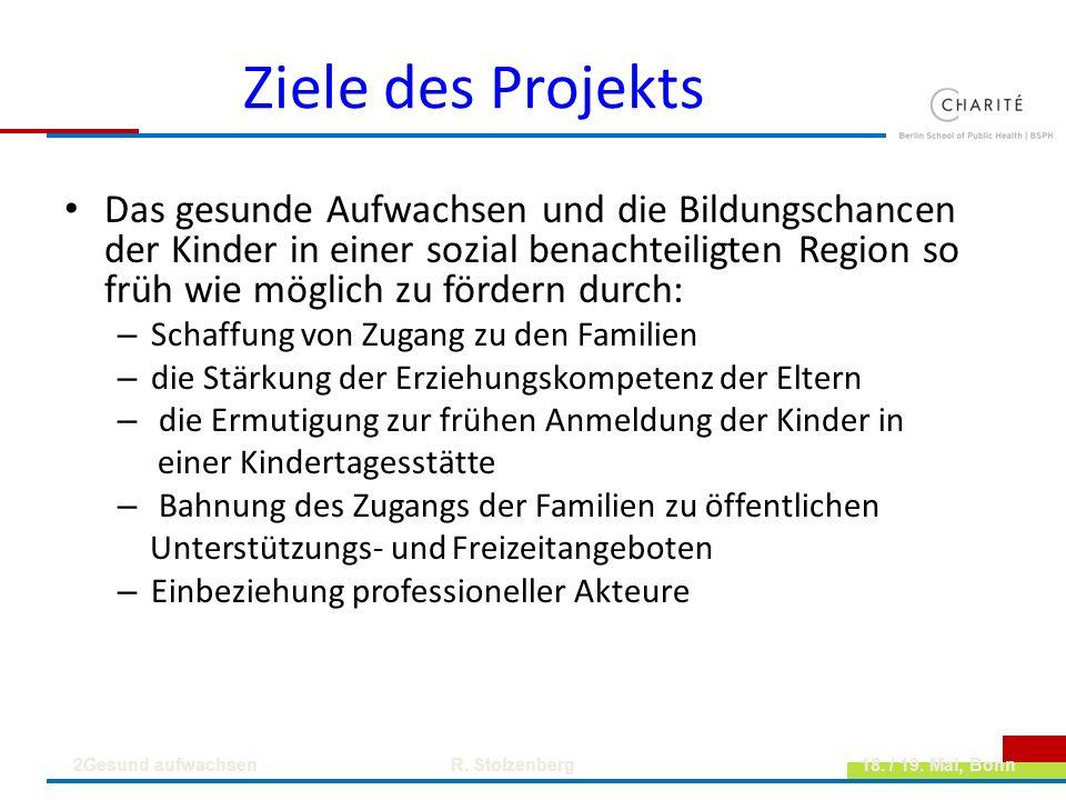 Ziele des Projekts Das gesunde Aufwachsen und die Bildungschancen der Kinder in einer sozial benachteiligten Region so früh wie möglich zu fördern dur