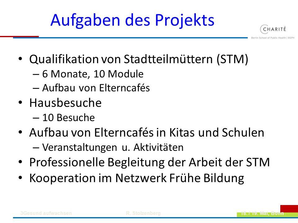 Aufgaben des Projekts Qualifikation von Stadtteilmüttern (STM) – 6 Monate, 10 Module – Aufbau von Elterncafés Hausbesuche – 10 Besuche Aufbau von Elte