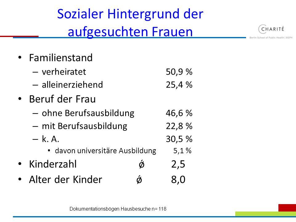 Sozialer Hintergrund der aufgesuchten Frauen Familienstand – verheiratet50,9 % – alleinerziehend25,4 % Beruf der Frau – ohne Berufsausbildung46,6 % –