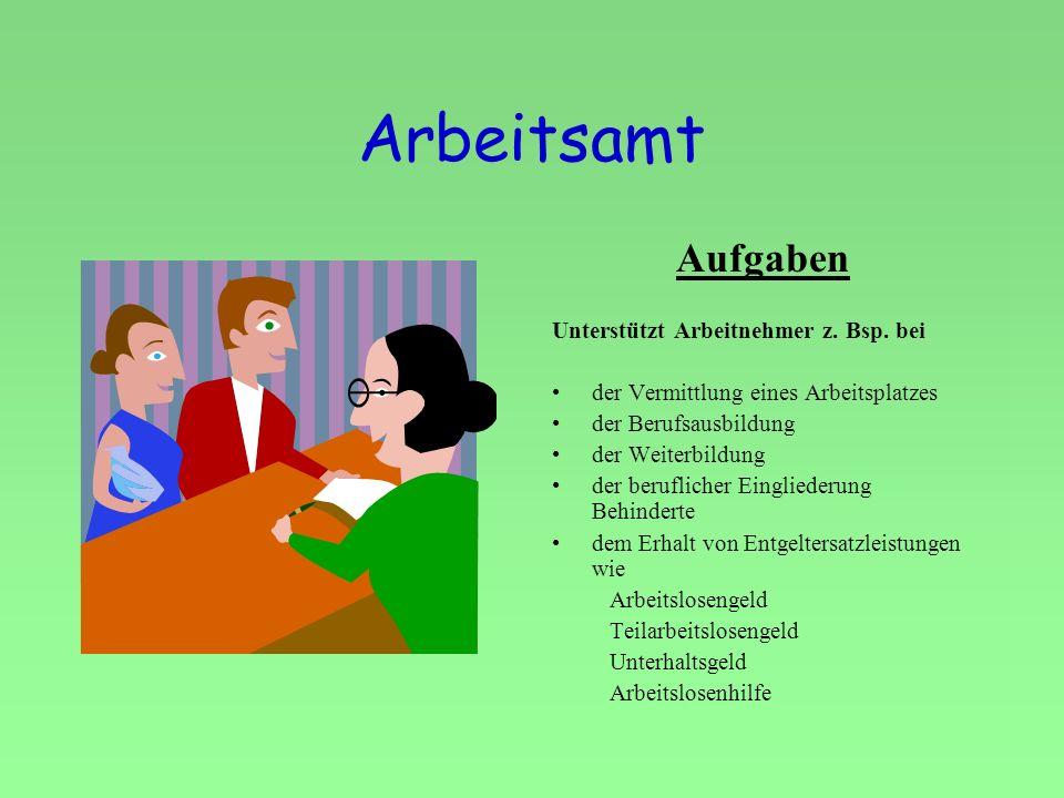 Arbeitsamt Aufgaben Unterstützt Arbeitnehmer z. Bsp. bei der Vermittlung eines Arbeitsplatzes der Berufsausbildung der Weiterbildung der beruflicher E