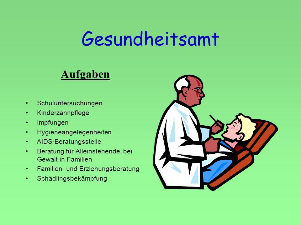 Gesundheitsamt Aufgaben Schuluntersuchungen Kinderzahnpflege Impfungen Hygieneangelegenheiten AIDS-Beratungsstelle Beratung für Alleinstehende, bei Ge