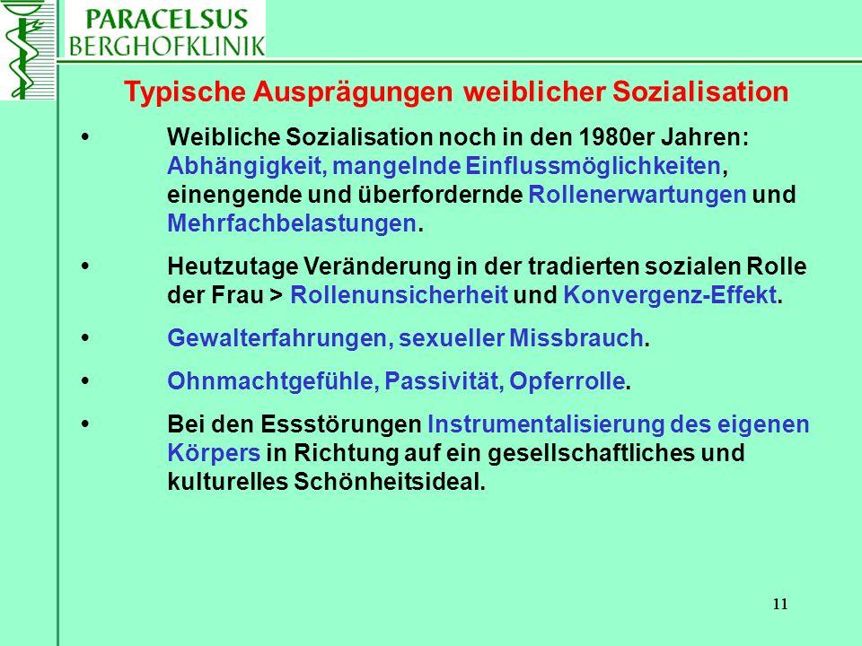 11 Typische Ausprägungen weiblicher Sozialisation Weibliche Sozialisation noch in den 1980er Jahren: Abhängigkeit, mangelnde Einflussmöglichkeiten, ei