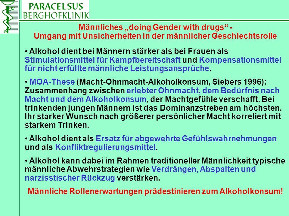 Alkohol dient bei Männern stärker als bei Frauen als Stimulationsmittel für Kampfbereitschaft und Kompensationsmittel für nicht erfüllte männliche Lei