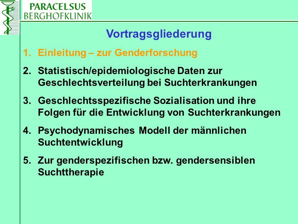 Vortragsgliederung 1.Einleitung – zur Genderforschung 2.Statistisch/epidemiologische Daten zur Geschlechtsverteilung bei Suchterkrankungen 3.Geschlech