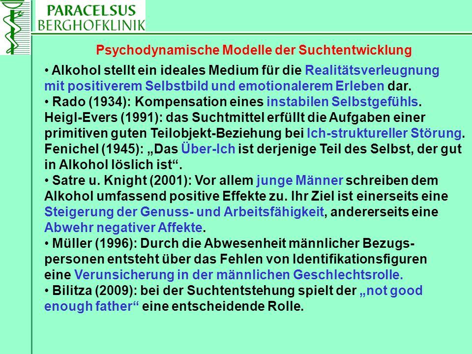 Alkohol stellt ein ideales Medium für die Realitätsverleugnung mit positiverem Selbstbild und emotionalerem Erleben dar. Rado (1934): Kompensation ein