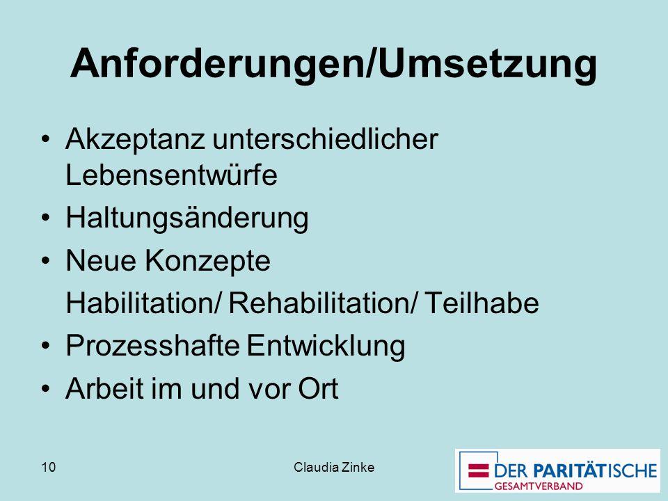 Claudia Zinke 10 Anforderungen/Umsetzung Akzeptanz unterschiedlicher Lebensentwürfe Haltungsänderung Neue Konzepte Habilitation/ Rehabilitation/ Teilh