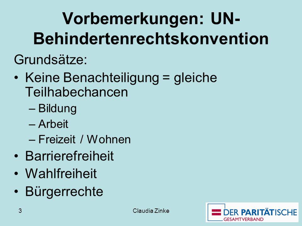 Claudia Zinke 3 Vorbemerkungen: UN- Behindertenrechtskonvention Grundsätze: Keine Benachteiligung = gleiche Teilhabechancen –Bildung –Arbeit –Freizeit