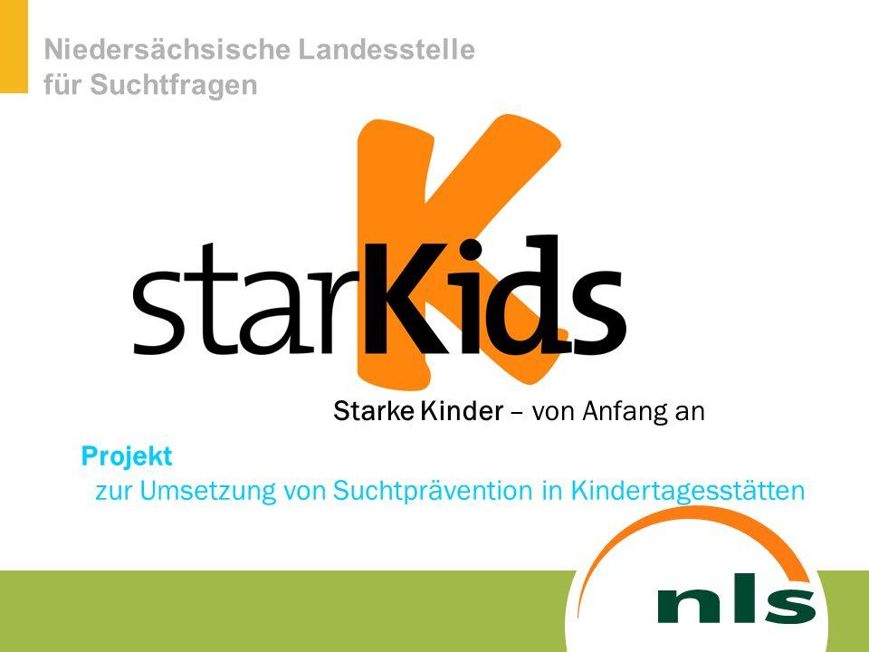 Niedersächsische Landesstelle für Suchtfragen Seit Herbst 2008 arbeitete eine Arbeitsgruppe mit Mitarbeiterinnen der NLS, Präventionsfachkräften und einer Kita-Leiterin an der Konzeptentwicklung für ein Suchtpräventionsprogramm in Kindergärten.