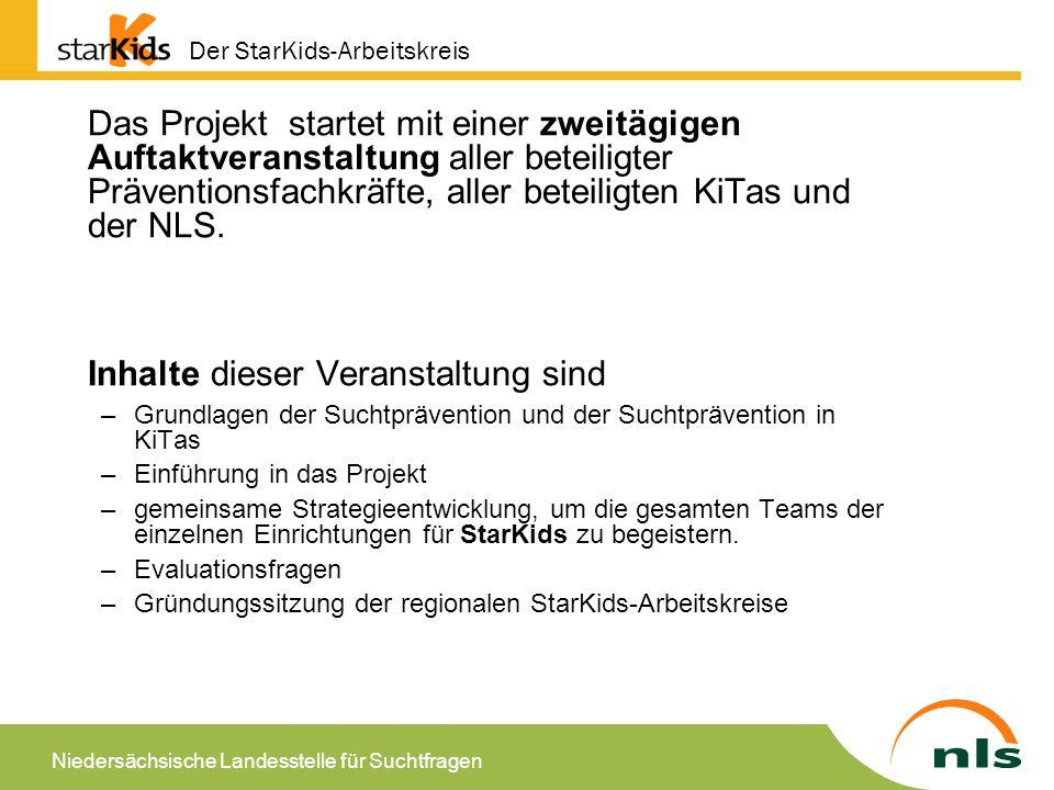 Niedersächsische Landesstelle für Suchtfragen Die dann folgenden Treffen der Arbeitskreise sind nach Input von neuen Inhalten und Reflexionen zur Umsetzung unterteilt und unterschiedlich lang.