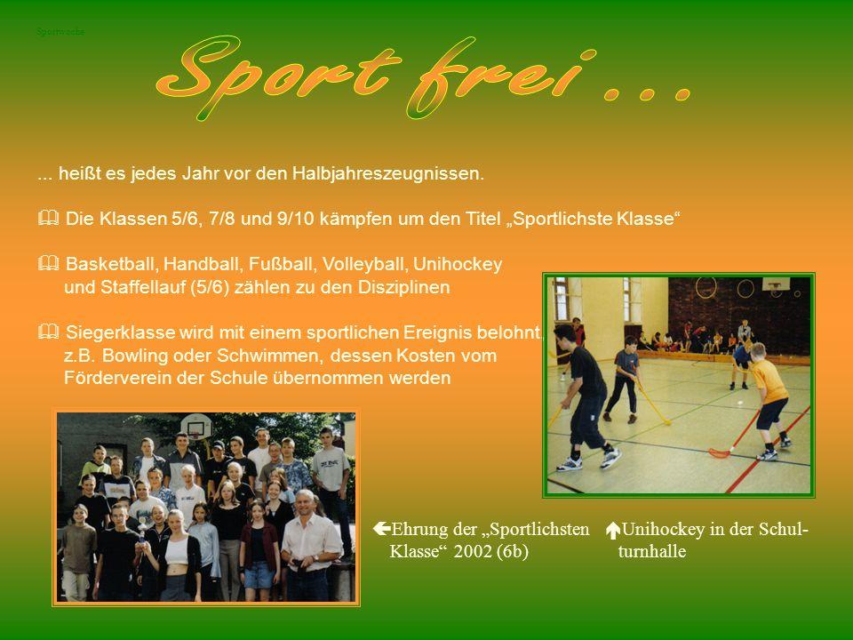 Sportwoche... heißt es jedes Jahr vor den Halbjahreszeugnissen. Die Klassen 5/6, 7/8 und 9/10 kämpfen um den Titel Sportlichste Klasse Basketball, Han