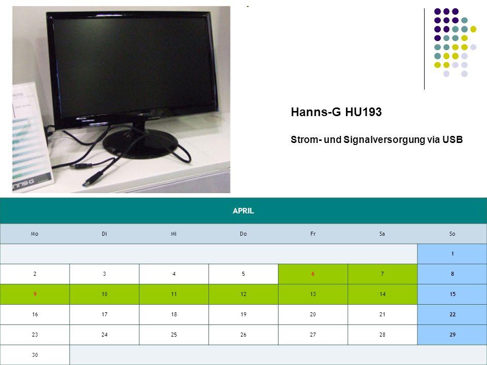 APRIL MoDiMiDoFrSaSo 1 2345678 9101112131415 16171819202122 23242526272829 30 Hanns-G HU193 Strom- und Signalversorgung via USB