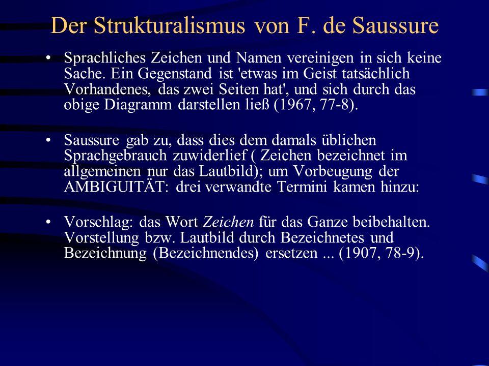 Der Strukturalismus von F. de Saussure Sprachliches Zeichen und Namen vereinigen in sich keine Sache. Ein Gegenstand ist 'etwas im Geist tatsächlich V