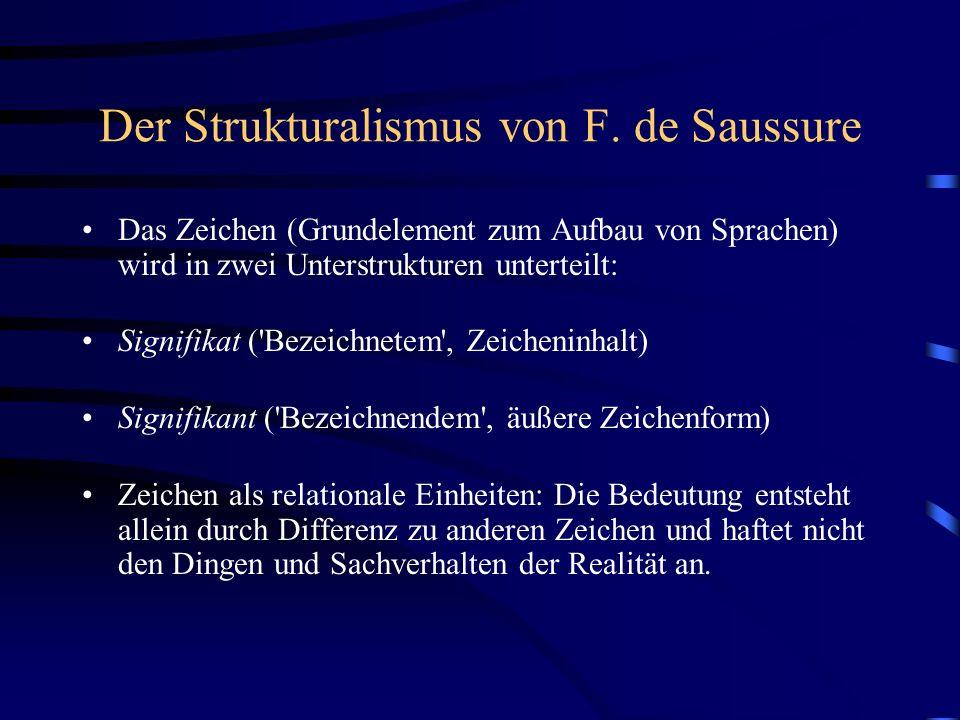 Der Strukturalismus von F. de Saussure Das Zeichen (Grundelement zum Aufbau von Sprachen) wird in zwei Unterstrukturen unterteilt: Signifikat ('Bezeic