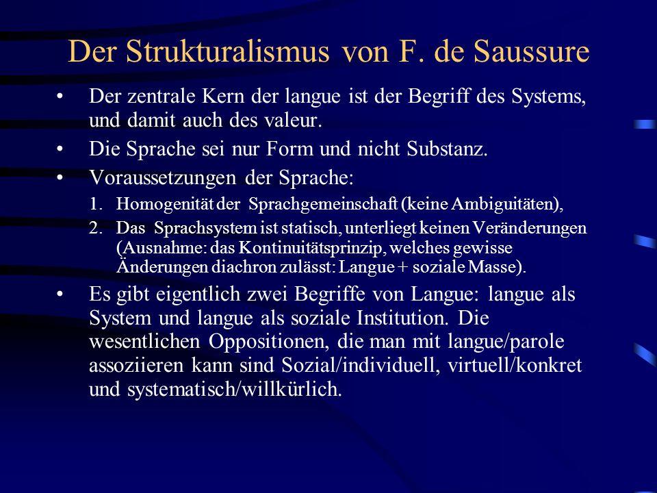 Der Strukturalismus von F. de Saussure Der zentrale Kern der langue ist der Begriff des Systems, und damit auch des valeur. Die Sprache sei nur Form u