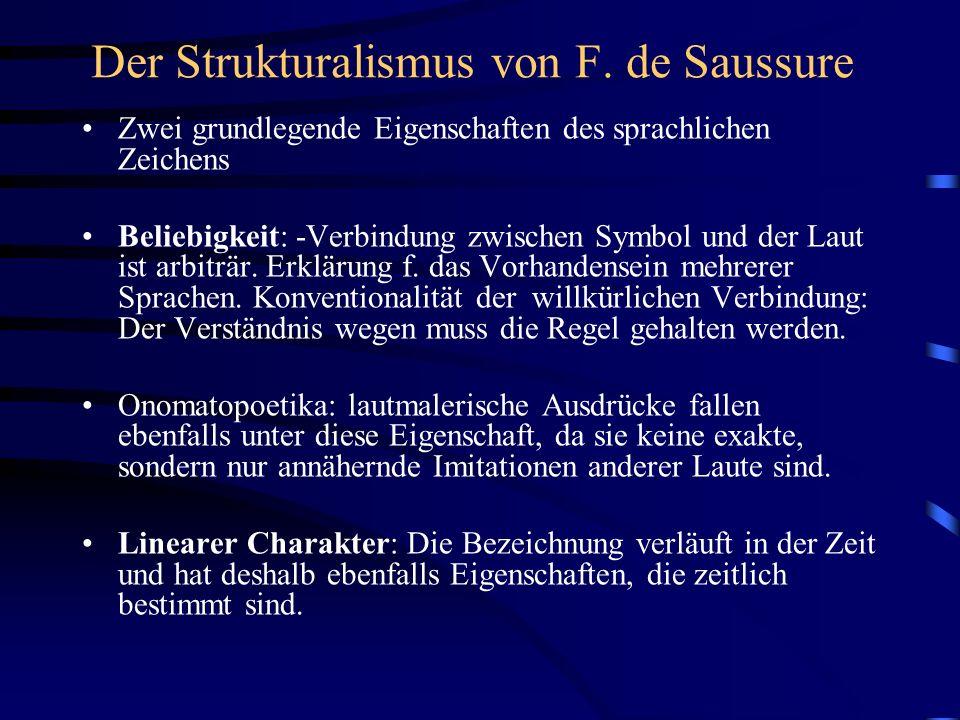 Der Strukturalismus von F. de Saussure Zwei grundlegende Eigenschaften des sprachlichen Zeichens Beliebigkeit: -Verbindung zwischen Symbol und der Lau