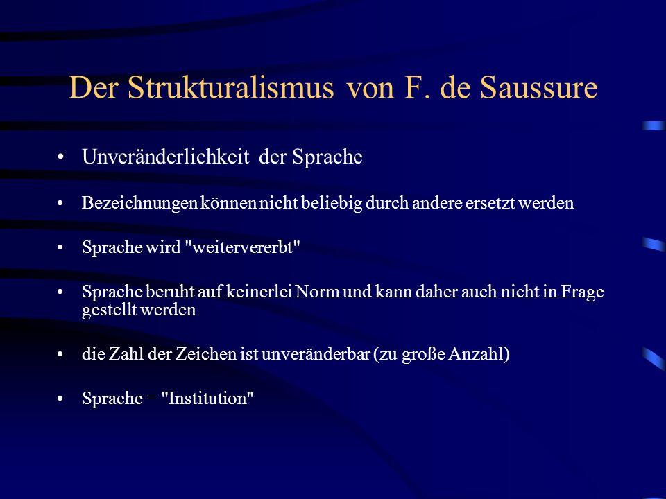 Der Strukturalismus von F. de Saussure Unveränderlichkeit der Sprache Bezeichnungen können nicht beliebig durch andere ersetzt werden Sprache wird