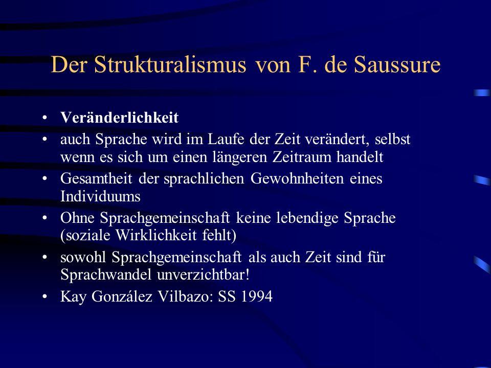 Der Strukturalismus von F. de Saussure Veränderlichkeit auch Sprache wird im Laufe der Zeit verändert, selbst wenn es sich um einen längeren Zeitraum