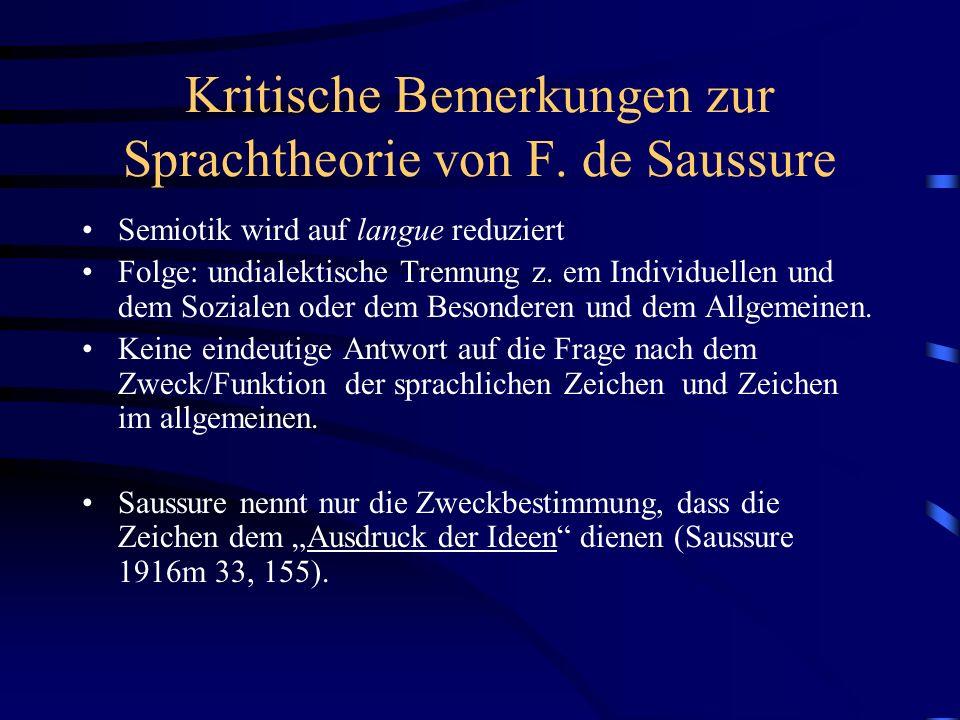 Kritische Bemerkungen zur Sprachtheorie von F. de Saussure Semiotik wird auf langue reduziert Folge: undialektische Trennung z. em Individuellen und d