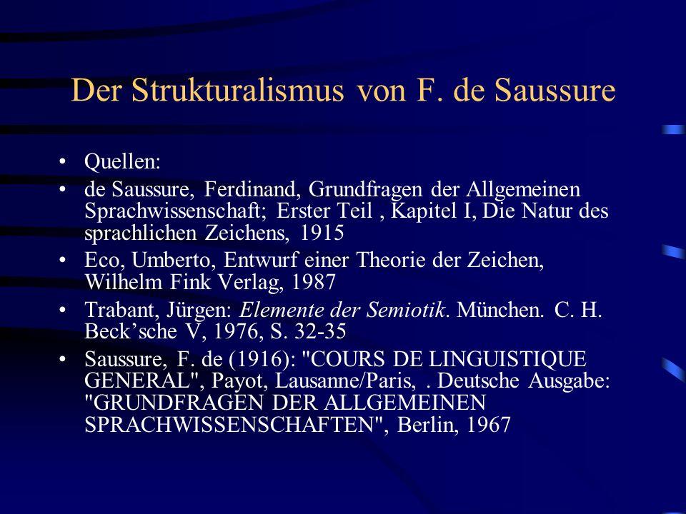 Der Strukturalismus von F. de Saussure Quellen: de Saussure, Ferdinand, Grundfragen der Allgemeinen Sprachwissenschaft; Erster Teil, Kapitel I, Die Na