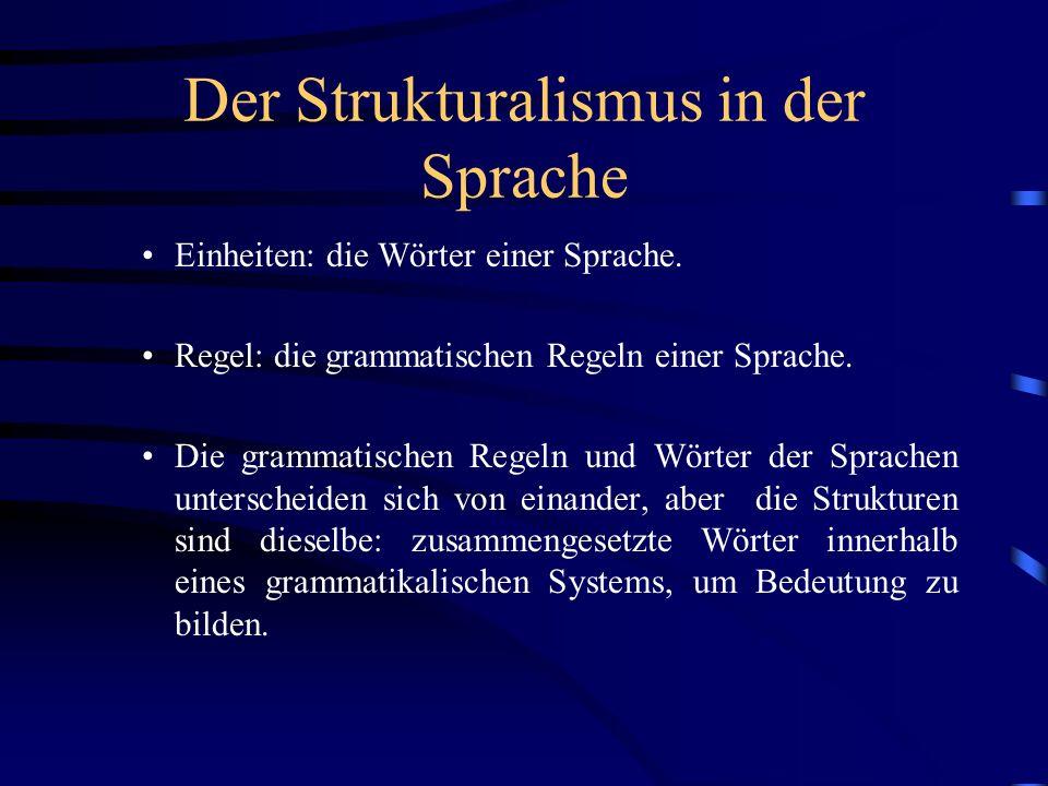 Der Strukturalismus in der Sprache Einheiten: die Wörter einer Sprache. Regel: die grammatischen Regeln einer Sprache. Die grammatischen Regeln und Wö