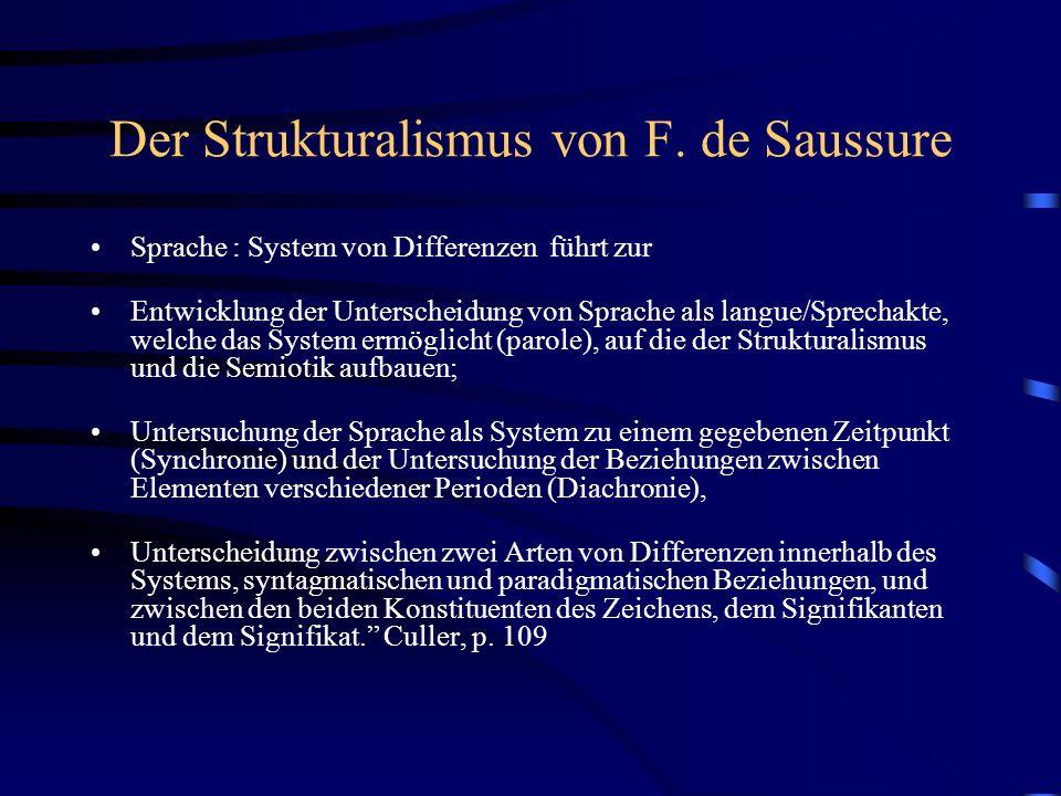 Der Strukturalismus von F. de Saussure Sprache : System von Differenzen führt zur Entwicklung der Unterscheidung von Sprache als langue/Sprechakte, we