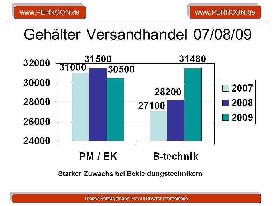 www.PERRCON.de Diesen Vortrag finden Sie auf unserer Internetseite Gehälter Versandhandel 07/08/09 Starker Zuwachs bei Bekleidungstechnikern