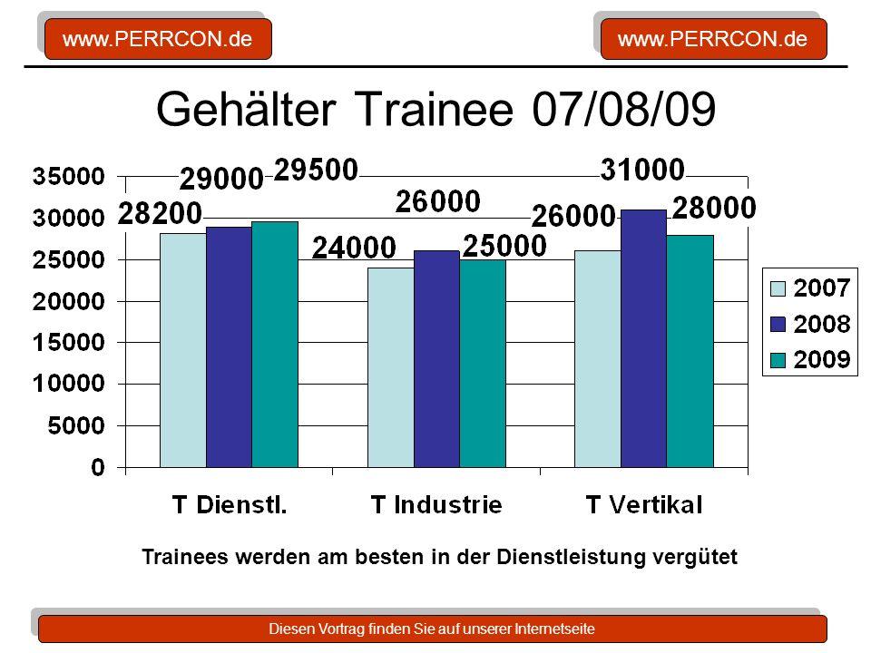 www.PERRCON.de Diesen Vortrag finden Sie auf unserer Internetseite Gehälter Trainee 07/08/09 Trainees werden am besten in der Dienstleistung vergütet
