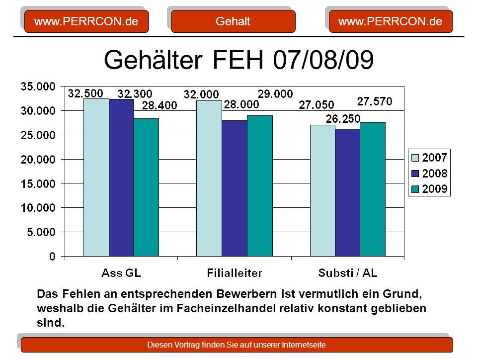 www.PERRCON.de Diesen Vortrag finden Sie auf unserer Internetseite Gehälter FEH 07/08/09 Gehalt Das Fehlen an entsprechenden Bewerbern ist vermutlich