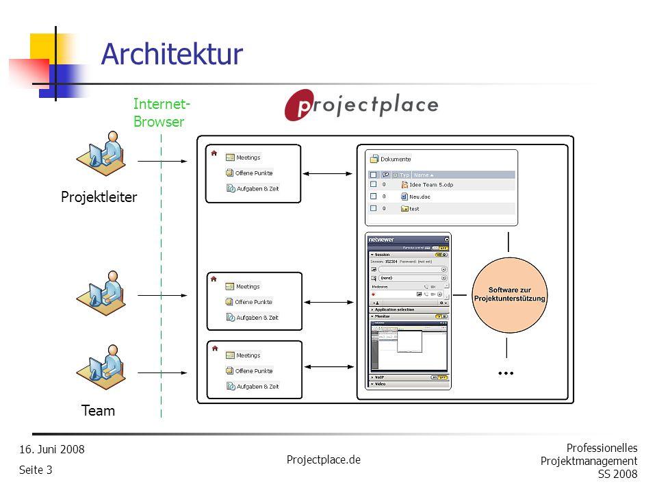 Professionelles Projektmanagement SS 2008 16. Juni 2008 Projectplace.de Seite 2 Was ist Projectplace.de? Internetbasierte Lösung zur Unterstützung der