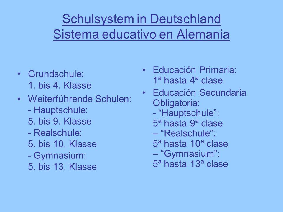 Schulsystem in Deutschland Sistema educativo en Alemania Grundschule: 1. bis 4. Klasse Weiterführende Schulen: - Hauptschule: 5. bis 9. Klasse - Reals