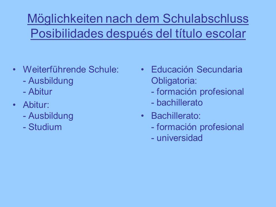 Möglichkeiten nach dem Schulabschluss Posibilidades después del título escolar Educación Secundaria Obligatoria: - formación profesional - bachillerat