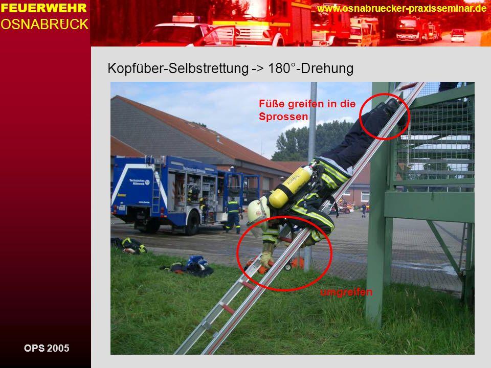 OPS 2005 FEUERWEHR OSNABRUCK E www.osnabruecker-praxisseminar.de Kopfüber-Selbstrettung -> 180°-Drehung Füße greifen in die Sprossen umgreifen