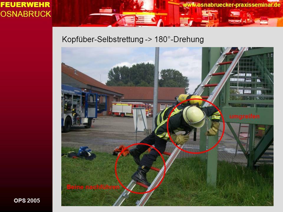 OPS 2005 FEUERWEHR OSNABRUCK E www.osnabruecker-praxisseminar.de Kopfüber-Selbstrettung -> 180°-Drehung umgreifen Beine nachführen