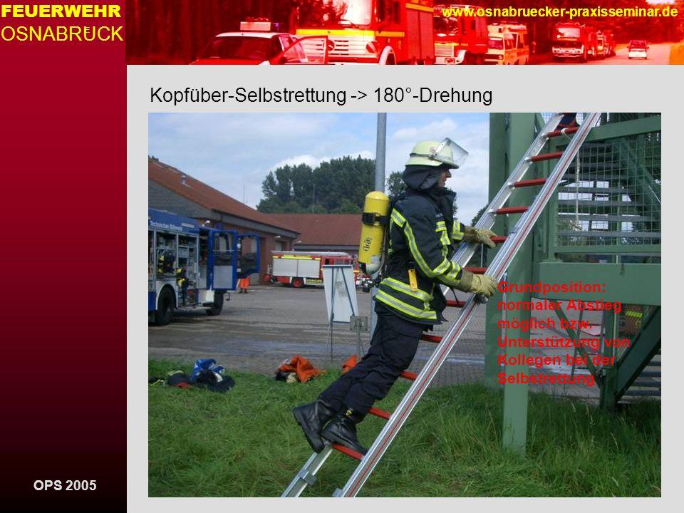 OPS 2005 FEUERWEHR OSNABRUCK E www.osnabruecker-praxisseminar.de Kopfüber-Selbstrettung -> 180°-Drehung Grundposition: normaler Abstieg möglich bzw. U