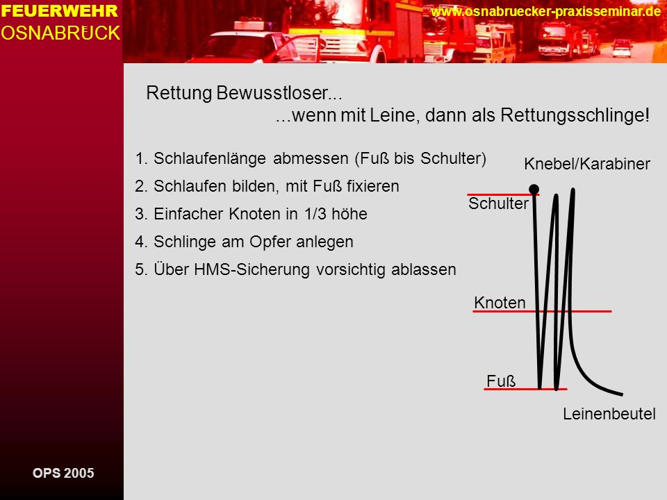 OPS 2005 FEUERWEHR OSNABRUCK E www.osnabruecker-praxisseminar.de Rettung Bewusstloser......wenn mit Leine, dann als Rettungsschlinge! 1. Schlaufenläng