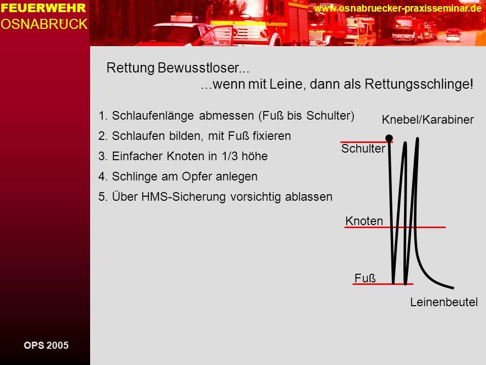 OPS 2005 FEUERWEHR OSNABRUCK E www.osnabruecker-praxisseminar.de Rettung Bewusstloser......wenn mit Leine, dann als Rettungsschlinge.